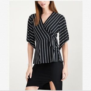 ALFANI BLACK STRIPED FAUX WRAP BLOUSE TOP